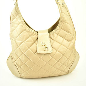 BURBERRY Beige Quilted Nylon Prorsum Knight Hobo